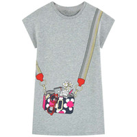 mädchen süße tier sommer kleid groihandel-Designer Kinderkleidung für Mädchen-beiläufige Shortsleeved gestreiftes T-Shirt-Kleid Netter Sommer Baumwollkleid mit Tier Applikationen Baby-Kleidung