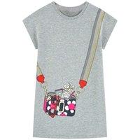 pamuklu gömlek kısa kollu toptan satış-Kızlar Casual Short Sleeve Çizgili tişört Elbise Designer Çocuk Giyim Hayvan Aplikler Kız Bebek Giyim ile şirin yazlık Pamuk Elbise
