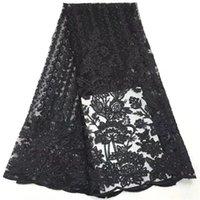 ingrosso pizzo nero del guipure nero del tessuto-Tessuto africano rosso del merletto 2019 ultima guipure pizzo frangia nigeriano ricamato tulle tessuto per il vestito di alta qualità 5 yard / lot nero