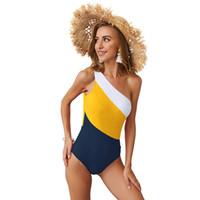 ingrosso pezzi di pattini della donna-Costume da bagno intero Swimwear per donna Un blocco color block Tankinis con Soft Pad 2019 Nuovo stile