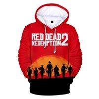 erkek çocuklar kırmızı sweatshirt toptan satış-KıRMıZı ÖLÜ REDEMPIYON 2 Çocuk Tasarımcı Giysileri Erkek Erkek Kadın Rahat 3D Hoodies Tişörtü