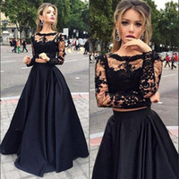 Plus Size Two Pieces Black Prom Dresses Long Sleeves A-Line Sexy Jewel Illusion Bodice Long Lace Evening Dress Party Formal Gowns SD3365