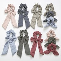 Wholesale hair tie band ears for sale - Group buy INS Stripe Hair Scrunchies Bow Women Accessories Hair Bands Ties Scrunchie Ponytail Holder Rubber Rope Decoration Big Long Bow Bunny Ears