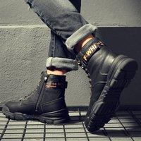 Wholesale elegant platform boots resale online - 2019 Fashion platform men s boots rivet plush warm boots elegant waterproof leather snow man velvet shoes