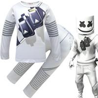 çocuklar oyunları ev toptan satış-Cosplay DJ Marshmello Kostüm çocuklar erkek kızlar için Tops / Pantolon / maske seti çocuk beyaz Cadılar Bayramı Karnaval Oyu ...