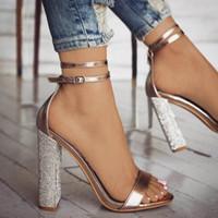 sandalias bajas sexy al por mayor-Venta caliente-Europa sandalias de mujer sexy de tacón alto 2019 verano nueva moda zapatos de fiesta de cristal hebilla correa de corte bajo talla grande 35-43 sandalias