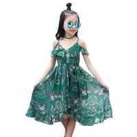anos vestido de criança venda por atacado-Meninas se vestem 2019 verão novo impresso chiffon roupas boêmio grandes crianças cinta longa praia vestido 4-14 anos