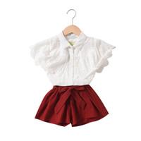 Wholesale cute blouse kids resale online - 2019 new kids designer clothes girls suits lace princess girls boutique outfits kids sets blouse shirt bows shorts kids sets A5612