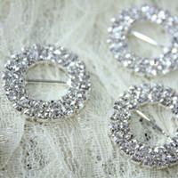 ingrosso inviti gialli-3d 50pcs Strass Fibbia Diamante Crystal Slider TwoRow Rotondo Cerchio Invito a nozze Carta decorazione tasca