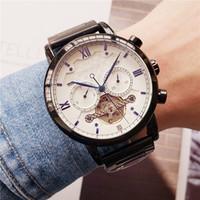 relógios mens grande banda venda por atacado-Esportes Mens Relógios Big Dial Display Top Marca de Luxo relógio de Quartzo Relógio Banda de Aço Moda relógios de Pulso Para Homens relógios Mecânicos.