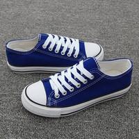 свободная обувь холст онлайн оптовых-Холст Обувь Низкая Цена Высокое Качество Женщины Высокая Помощь Стиль Молодые Люди Низкий Крой Кроссовки Дышащий Черный Белый Красный Онлайн Бесплатная Доставка