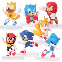 muñecas sonoras juguetes al por mayor-7 estilos / Set de Sonic Figuras de acción juguetes de la muñeca de 6 cm PVC PSP juego de la muñeca de Animación periférica Decoración Juguetes L412