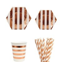 Wholesale paper cup gold resale online - 49pcs set Rose Gold Birthday Party Paper Plates Cups Straw Happy Birthday Party Decoration Adults Girl Boy Disposable Tableware