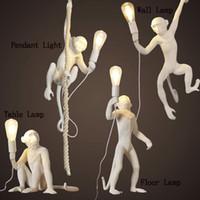lâmpadas de teto de vidro vintage venda por atacado-LED Luzes Pingente Black Light Table Macaco Iluminação Interior Escritório Estudo Wall Lamp Chandelier Lâmpadas Criatividade Art