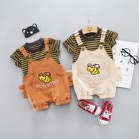 ingrosso bambini del vestito del ragazzo-Abbigliamento da 12 mesi per ragazzi vestiti abbigliamento 2 pezzi / set Abbigliamento T-shirt Striepd + tuta corta abbigliamento infantile Set vestiti per bambini vestito