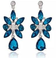 ingrosso orecchini royal blu del rhinestone-Rhinestone di cristallo di modo delle donne Elegante Royal Blue Ear Stud Ciondola gli orecchini Charming Earing Earring Ear Rings Accessori WCW138