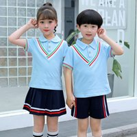 niños sexy japoneses al por mayor-Camisa de los niños + Falda Pantalones cortos Conjuntos de ropa para niños Sexy Japan High School Uniform Teen Boys Girls Japanese High School Uniform