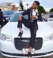 Wholesale navy blue suit skinny fit resale online - Coat Pant Designs Black Gold Lapel Prom Men Suit Slim Fit Skinny Wedding Tuxedo Custom Suits Groom Blazers Jacket Pants