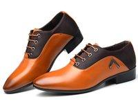 en iyi parti ayakkabıları toptan satış-Best seller Erkekler lüks İngiliz Ünlüler Erkekler Balo Parti Düğün Noel İş Elbise Ayakkabı Dantel-Up moda Düz Küçük Deri Ayakkabı