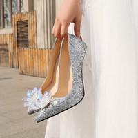 ingrosso tacchi in cristallo rosso argento dorato-donne rosso argento oro paillette pu punta punta di cristallo strass gomma inferiore tacchi alti scarpe ragazze signore pompe partito vestito scarpe da sposa