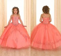 Wholesale teens girls dresses resale online - Beautiful Coral Crystals Beaded Girls Pageant Dresses Sleeveless Lace Organza Flower Girl Dresses Corset Back Pageant Gowns For Teens