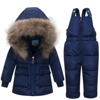 Wholesale boys kids hooded vest resale online - 2018 New Winter for Boys Girls Ski Suit Children Duck Down Clothing Set Baby Warm Jacket Pants Overalls Kids Clothes