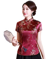 Wholesale china dragon color for sale - Group buy Fashion Chinese cheongsam top traditional Chinese Women s faux Silk Satin Top china dragon and phoenix blouse Chinese Qipao Shirt