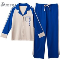 gevşek pijama toptan satış-JRMISSLI Bahar 100% Pamuk Kadın Pijama 2-piece Gevşek Kalın Artı Boyutu Pijama Setleri Patchwork Pijama Mujer Pijama
