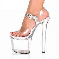 bal épais talons achat en gros de-Épaisse Plate-forme imperméable Transparent Chaussures De Mariage De La Plage Des Femmes 20cm Chaussures De Mariage À Talons Hauts De Mode New Star Prom Danse Sandale Chaussures