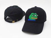 correa negra sombreros de espalda al por mayor-Hombres mujeres Triste bordado de rana Sombrero de papá ajustable Gorra de béisbol Sombrero Gorra de papá negro Correa espalda Rana Meme