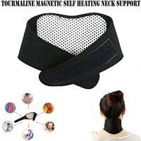 boyun desteği masajı toptan satış-Sağlık Kendinden Isıtma Turmalin Manyetik Boyun Isı Terapisi Destek Kemer Wrap Brace Masaj Ince Ekipmanı