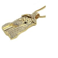 christliche schmuckweinlese großhandel-Männer Kette Christian Schmuck Geschenke Gold Farbe Vintage Jesus Stück Anhänger Halskette