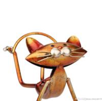 metal şarap rafı toptan satış-Tooarts 3D Metal Yoga kedi Figürinler Şarap tutucu Şarap rafı Metal heykel hayvan heykel Ev Iç dekorasyon El Sanatları