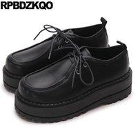 harajuku noir chaussures femmes achat en gros de-Ascenseur Épaisse Semelle Creepers Plateforme Chaussures Oxfords Muffin Harajuku Femmes Appartements Chaussures Noir À Lacets Belle Européenne Dernières