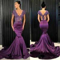 Wholesale royal blue prom dresses online - Grape Purple Prom Dresses Sexy V Neck Lace And Satin Mermaid Evening Gowns See Through Top Cap Sleeve Formal Party Dress Custom Made