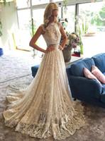 t-shirt funkelnd großhandel-2019 Elegant High Neck Cap Sleeves Lace A Line Brautkleider Funkelnde Pailletten Sweep Zug Hochzeit Brautkleider Robe de Mariée