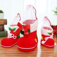 ingrosso calze di natale divertenti-Forniture regalo Candy divertimento di Natale Candy Boots Babbo Natale che si affolla Stivali Calze decorativi Box decorazione domestica nuovo anno