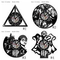 temas de arte al por mayor-Harry Potter Clock Theme Art CD Record Relojes Vinyl Record Antique LED Wall Hanging Clock Black Hollow Home Decor Relojes 4 estilos GGA2656