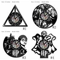 saat duvarı asılı toptan satış-Harry Potter Saat Tema Sanat CD Kayıt Saatler Vinil Kayıt Antika LED Duvar Asılı Saat Siyah Hollow Ev Dekor Saatler 4 stilleri GGA2656