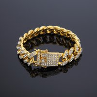 cadena de mano de diamantes de imitación al por mayor-12 mm de oro Bling helado Cadenas de mano Cadena de mano Hip Hop mujeres hombres CZ Rhinestones hebilla de corchete Braceletsl cubanos brazaletes