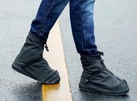 sapatos de capa plana unisex venda por atacado-Unisex 25.5-32 cm Preto e Transparente Reutilizável Sapata de Chuva Cobre Plana À Prova D 'Água Galochas Anti-slip Rain Boot Gear