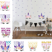 Wholesale wall stickers flowers pink for sale - Group buy Three style DIY Unicorn Stickers Cartoon Star Wall Stickers star flower wall sticker Children s Bedroom Wall Sticker T6I6003