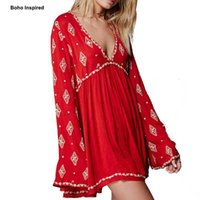 01449ae6f0 Wholesale sexy hippie clothes for sale - Women s Diamond Embroidered Tops  Flare Long Sleeve Hippie