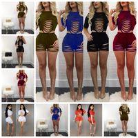 sexy yoga gemischt großhandel-Europäische mode einfarbig sexy hohl loch kurze jacke zwei anzug weiß, orange, rot, schwarz, grün, blau unterstützung mischreihe