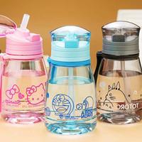 çocuklar için plastik su şişeleri toptan satış-12 oz Çocuklar Su Şişesi Öğrenci Taşınabilir Karikatür Kamp Bisiklet Suyu Drinkware Plastik Çocuk Sippy Su Şişesi