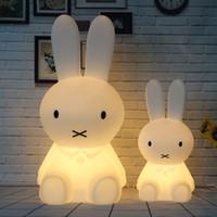 babytier nachttischlampen großhandel-Dimmbare H28CM 50CM Led Kaninchen Nachtlicht USB für Kinder Baby Kinder Geschenk Tier Cartoon Dekorative Lampe Nacht Schlafzimmer Wohnzimmer