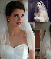 véus bordados marfim do casamento venda por atacado-Mais barato 2019 Uma Camadas Véus De Noiva Branco Tule Curto Véu De Noiva Do Casamento Com Pente Fita Borda Acessórios De Noiva sem Pente