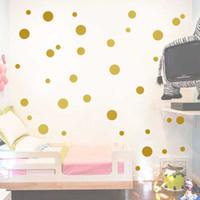 papier peint de la salle d'or achat en gros de-Or à pois enfants chambre chambre de bébé stickers muraux enfants Home Decor pépinière stickers muraux autocollants pour enfants papier peint