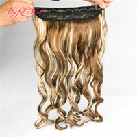 Wholesale black highlighted hair resale online - clip in hair extensions brown blonde highlights synthetic straight hair gram synthetic braiding marley black ombre clips in hair new
