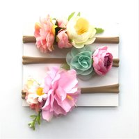 Wholesale artificial roping for sale - Group buy Baby HairBand With Artificial Flower Set Cloth Hair Rope Flower Shape Elastic Rope Artificial Elegant Flower Hairbands